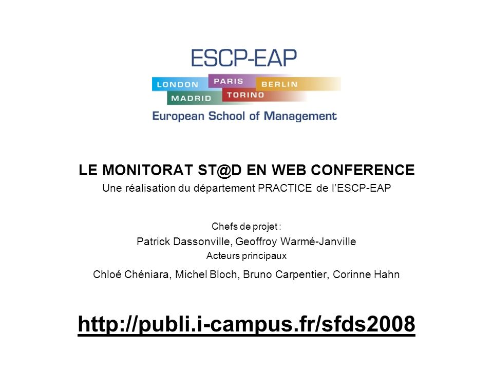 LE MONITORAT ST@D EN WEB CONFERENCE