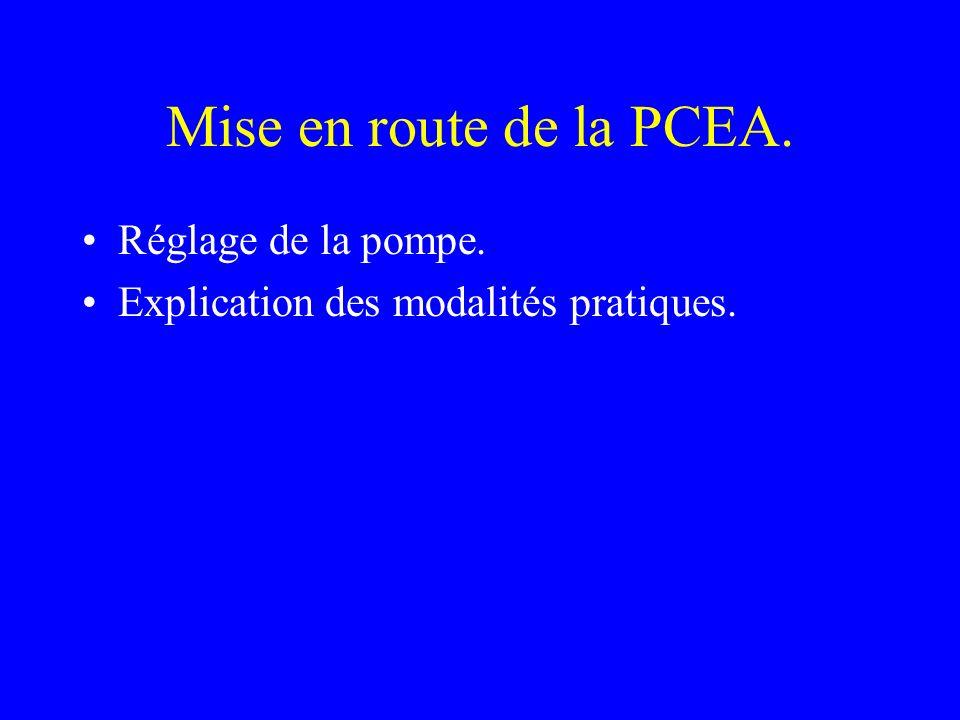 Mise en route de la PCEA. Réglage de la pompe.