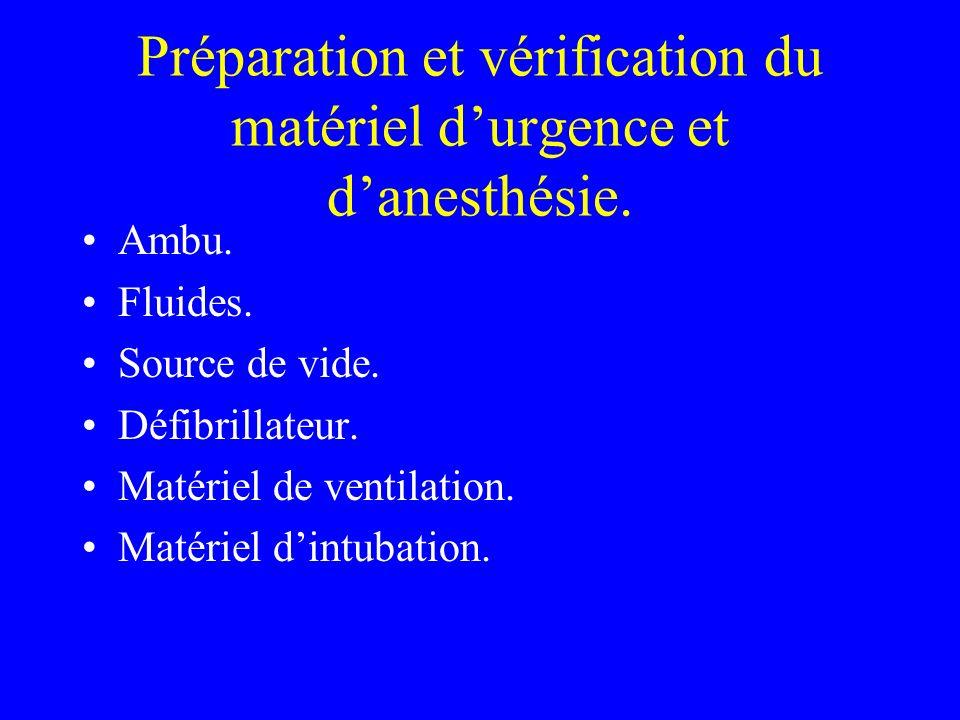 Préparation et vérification du matériel d'urgence et d'anesthésie.