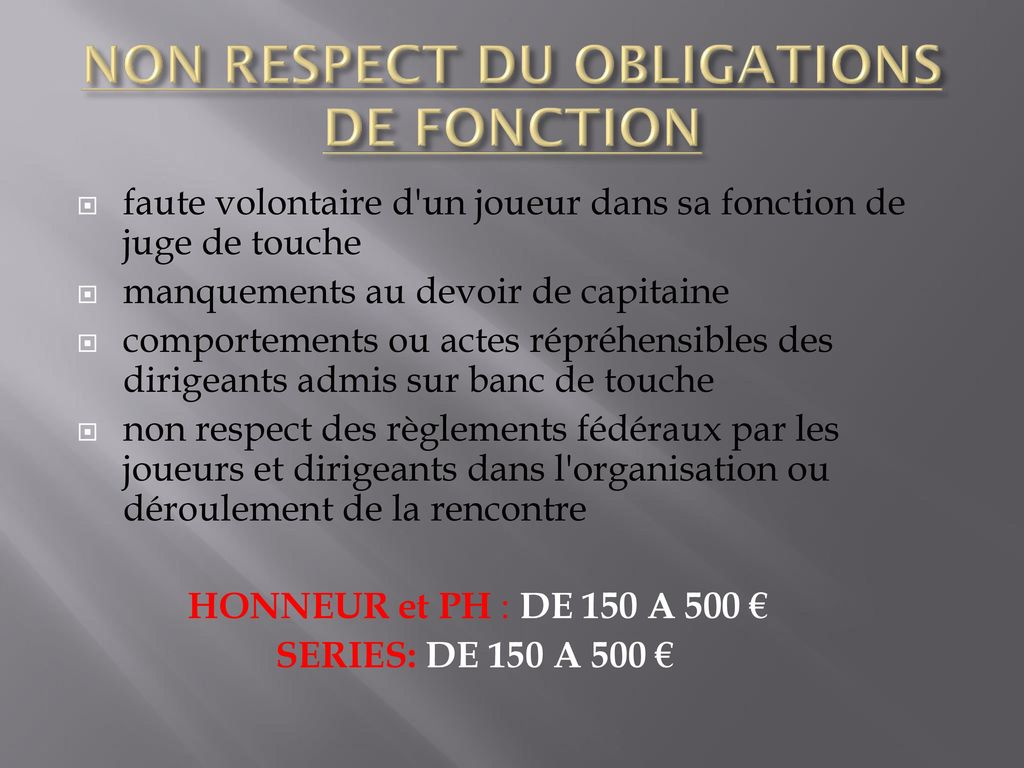 NON RESPECT DU OBLIGATIONS DE FONCTION