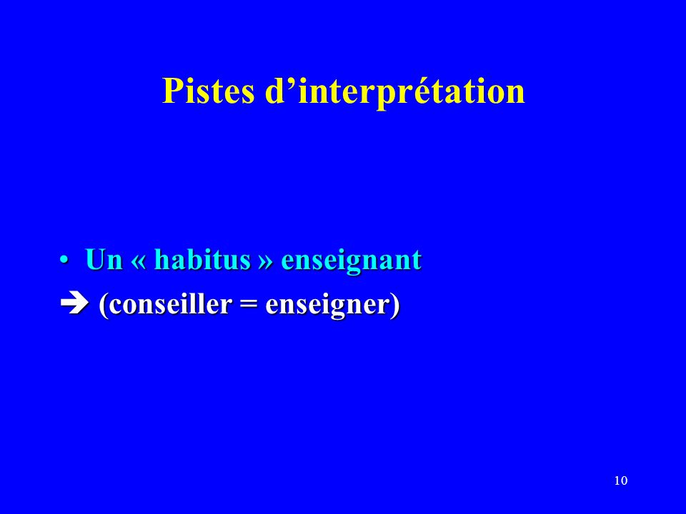 Pistes d'interprétation