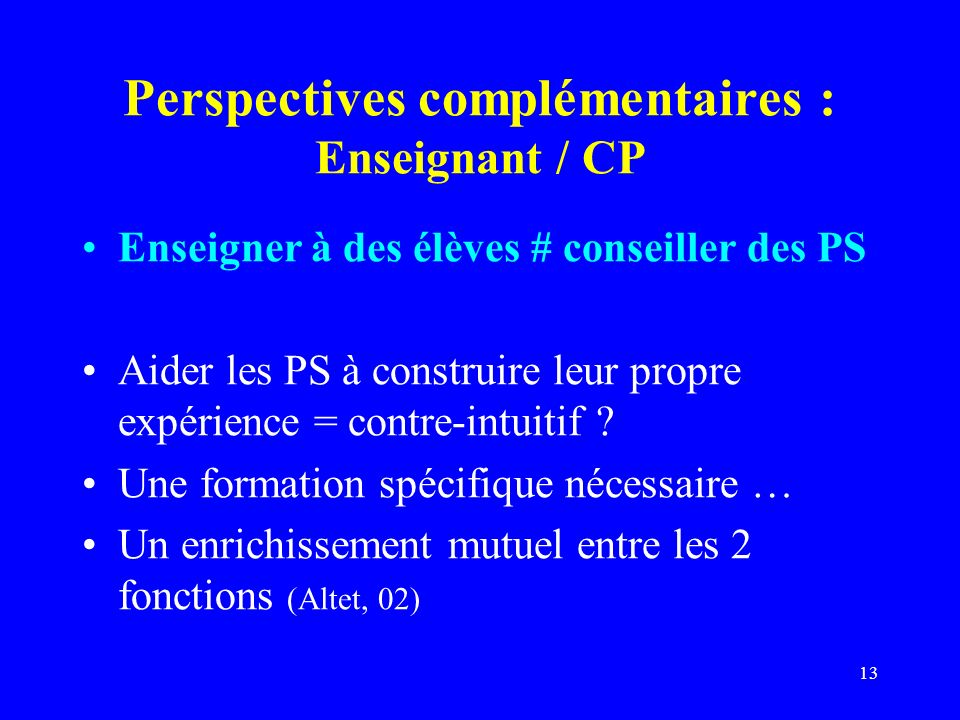 Perspectives complémentaires : Enseignant / CP