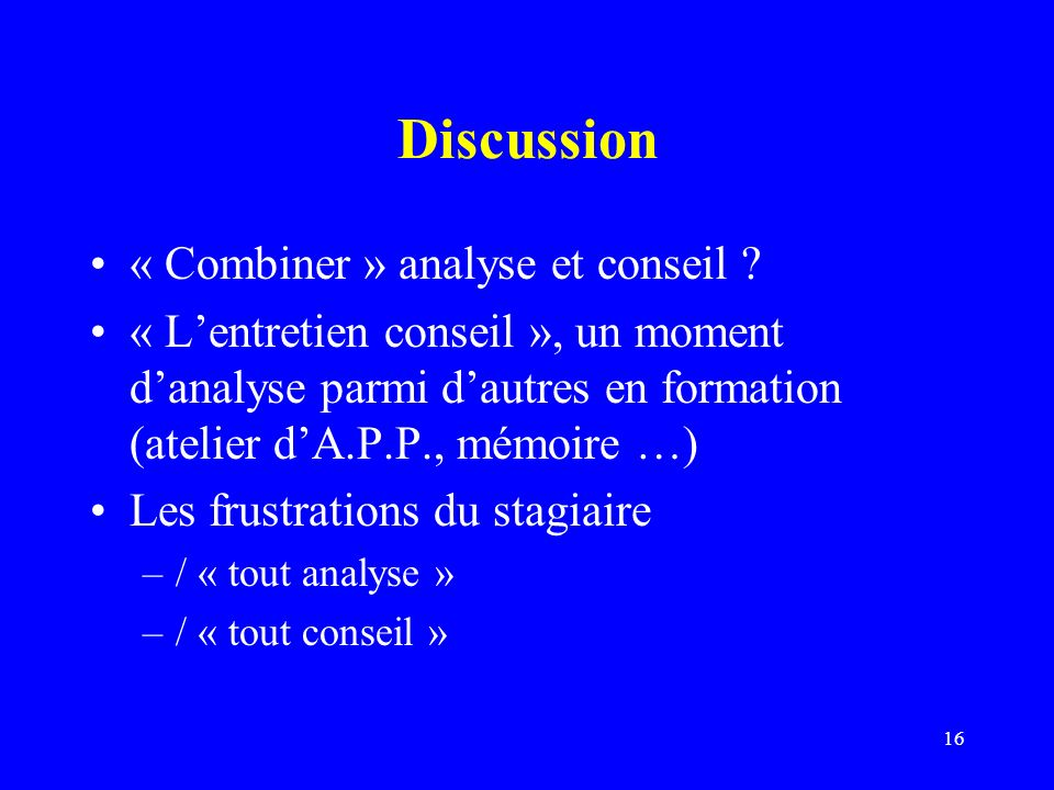 Discussion « Combiner » analyse et conseil