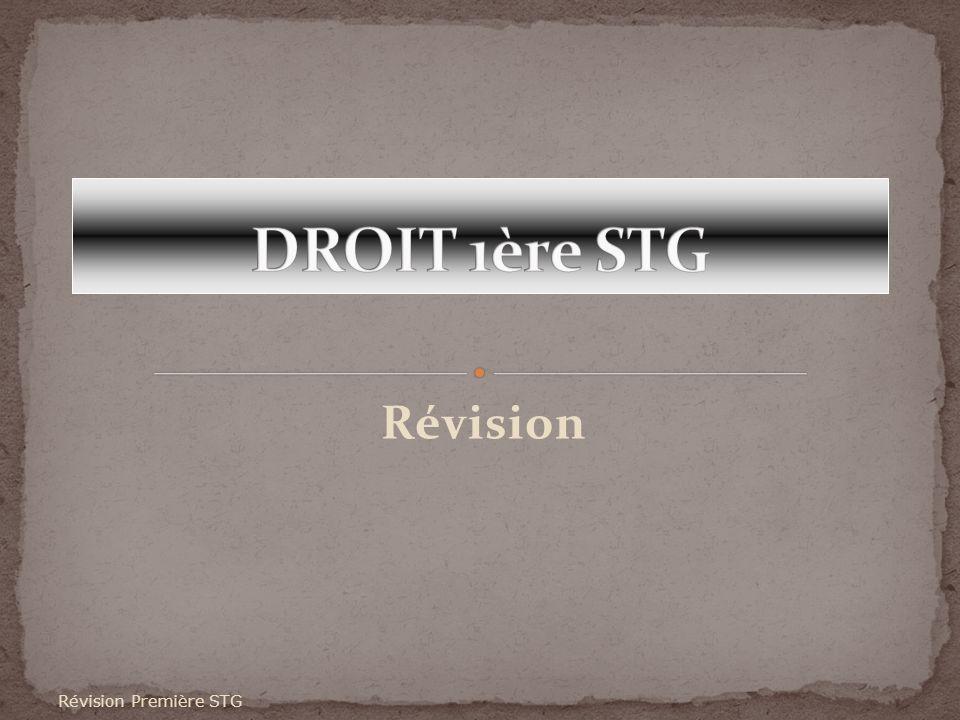 DROIT 1ère STG Révision Révision Première STG
