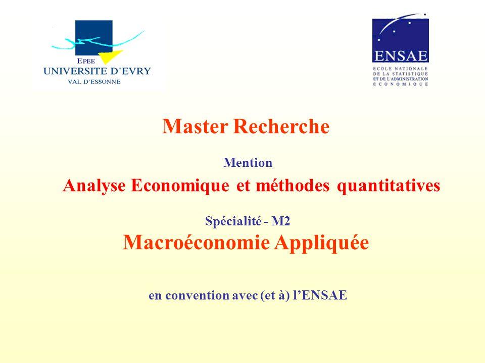 Analyse Economique et méthodes quantitatives Macroéconomie Appliquée