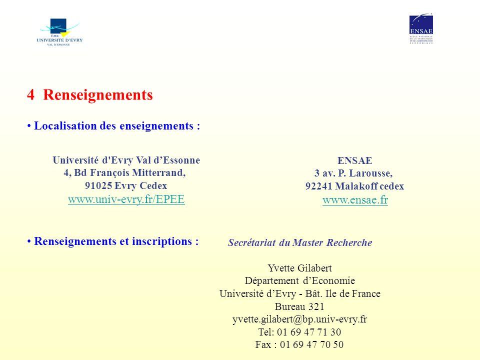 4 Renseignements Localisation des enseignements :