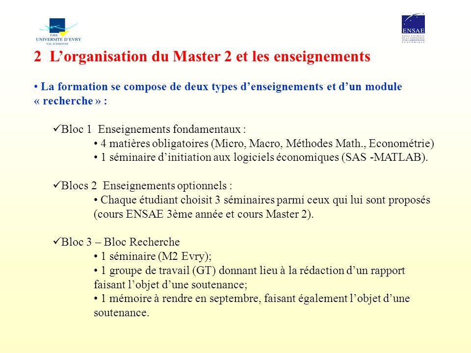 2 L'organisation du Master 2 et les enseignements