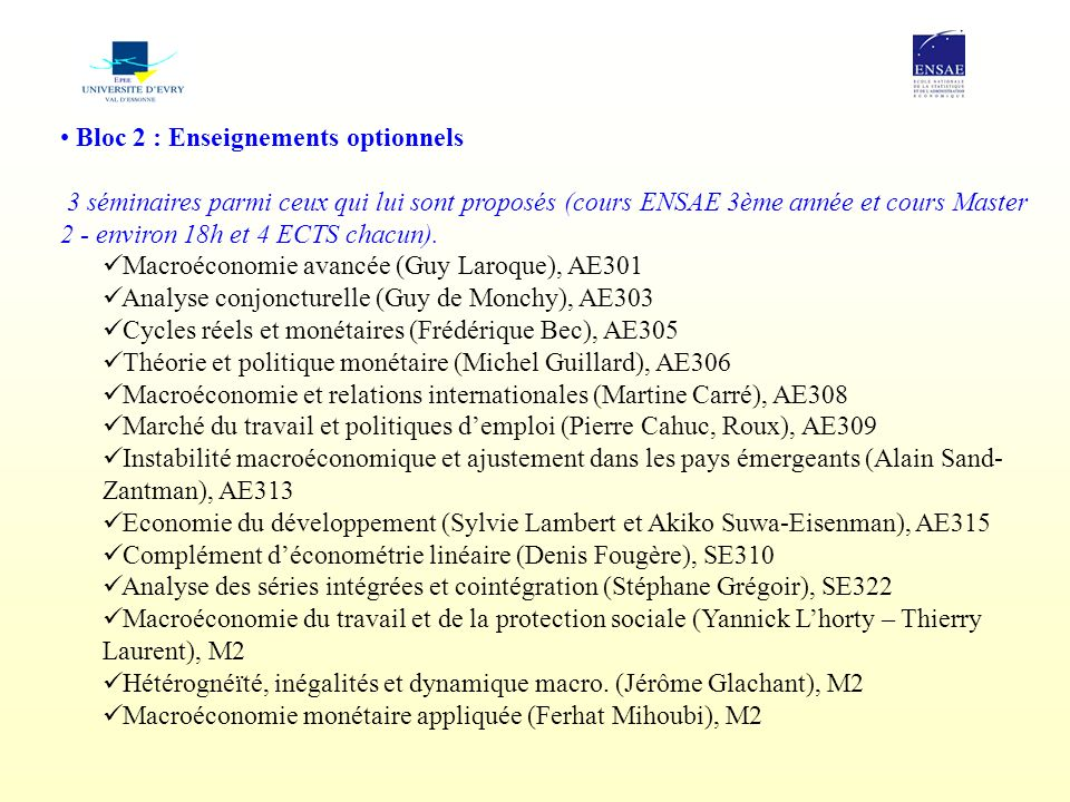 Bloc 2 : Enseignements optionnels