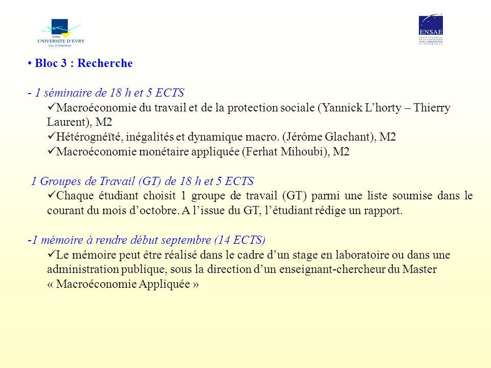 Bloc 3 : Recherche 1 séminaire de 18 h et 5 ECTS. Macroéconomie du travail et de la protection sociale (Yannick L'horty – Thierry Laurent), M2.