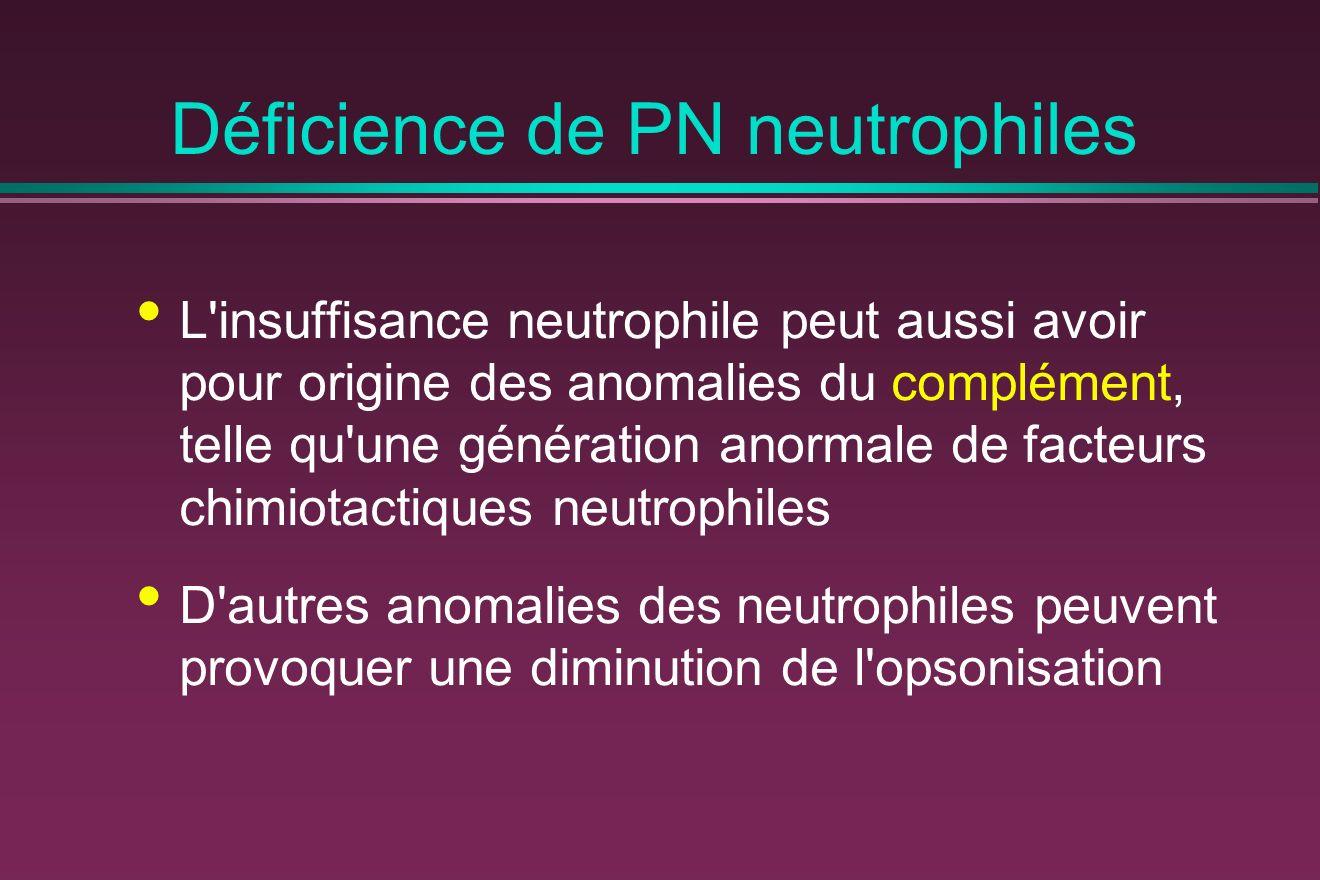 Déficience de PN neutrophiles