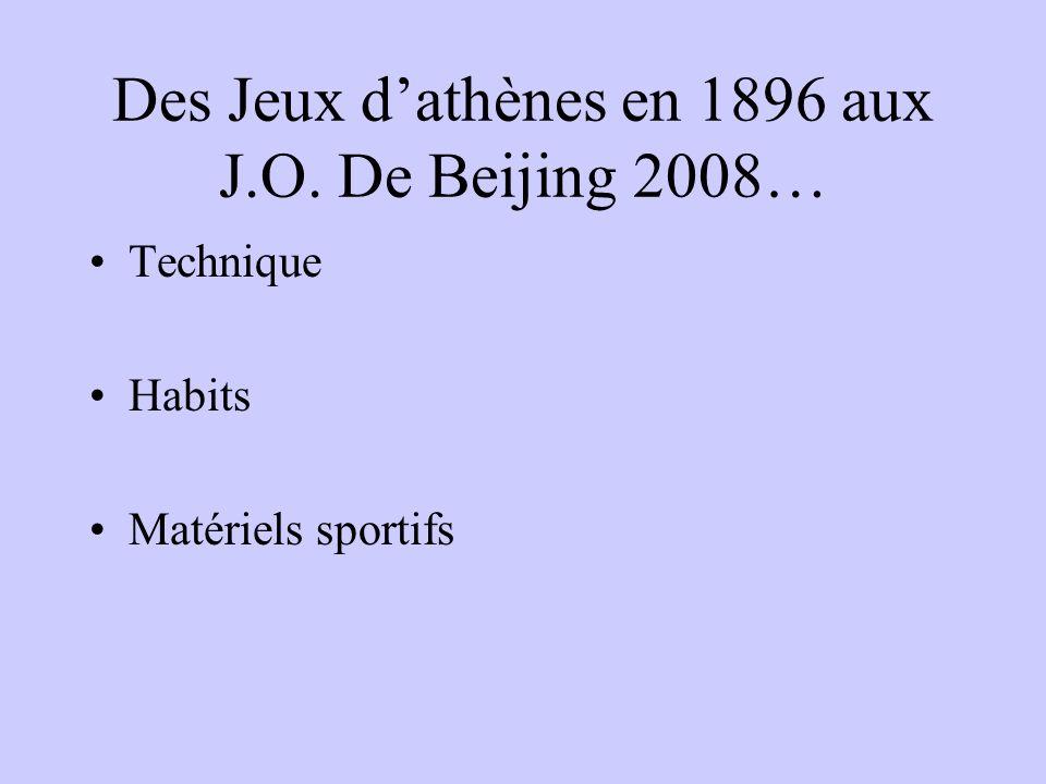 Des Jeux d'athènes en 1896 aux J.O. De Beijing 2008…