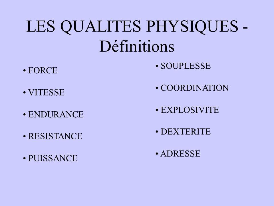 LES QUALITES PHYSIQUES - Définitions