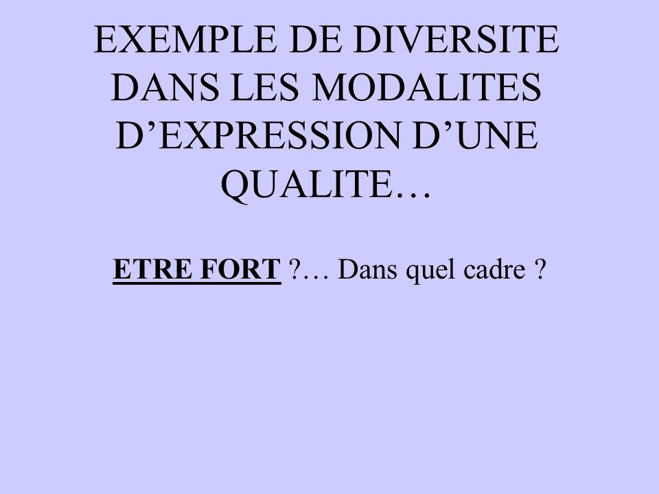 EXEMPLE DE DIVERSITE DANS LES MODALITES D'EXPRESSION D'UNE QUALITE…