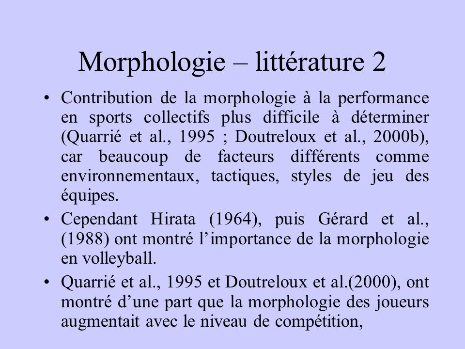 Morphologie – littérature 2