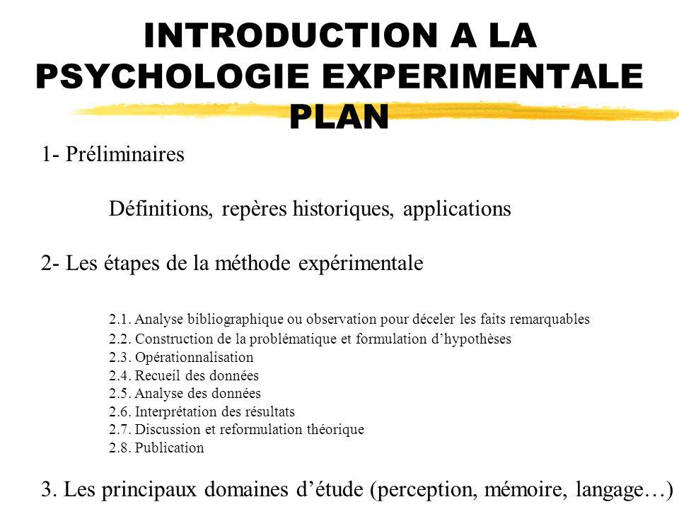INTRODUCTION A LA PSYCHOLOGIE EXPERIMENTALE PLAN