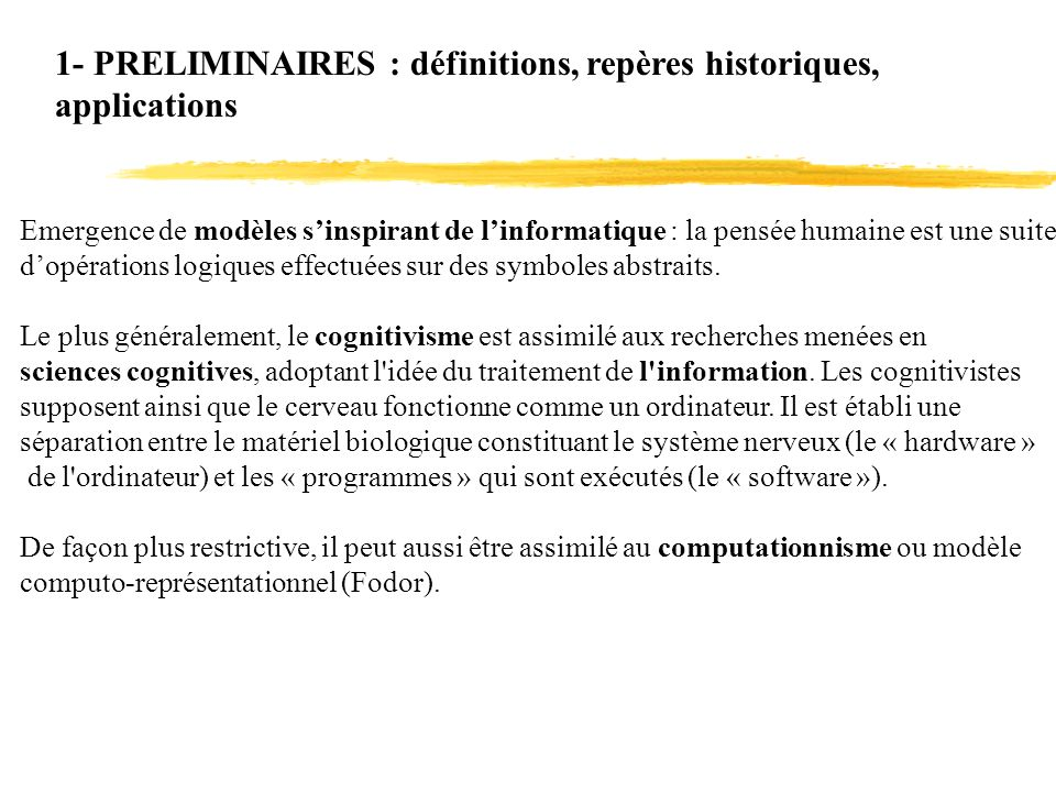 1- PRELIMINAIRES : définitions, repères historiques, applications
