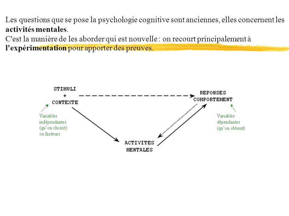 Les questions que se pose la psychologie cognitive sont anciennes, elles concernent les