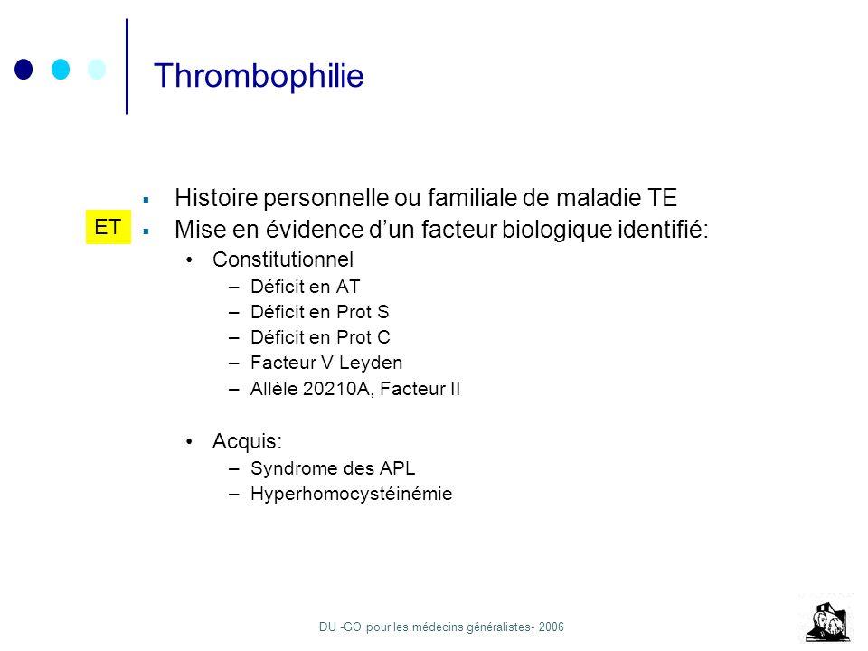 Thrombophilie Histoire personnelle ou familiale de maladie TE