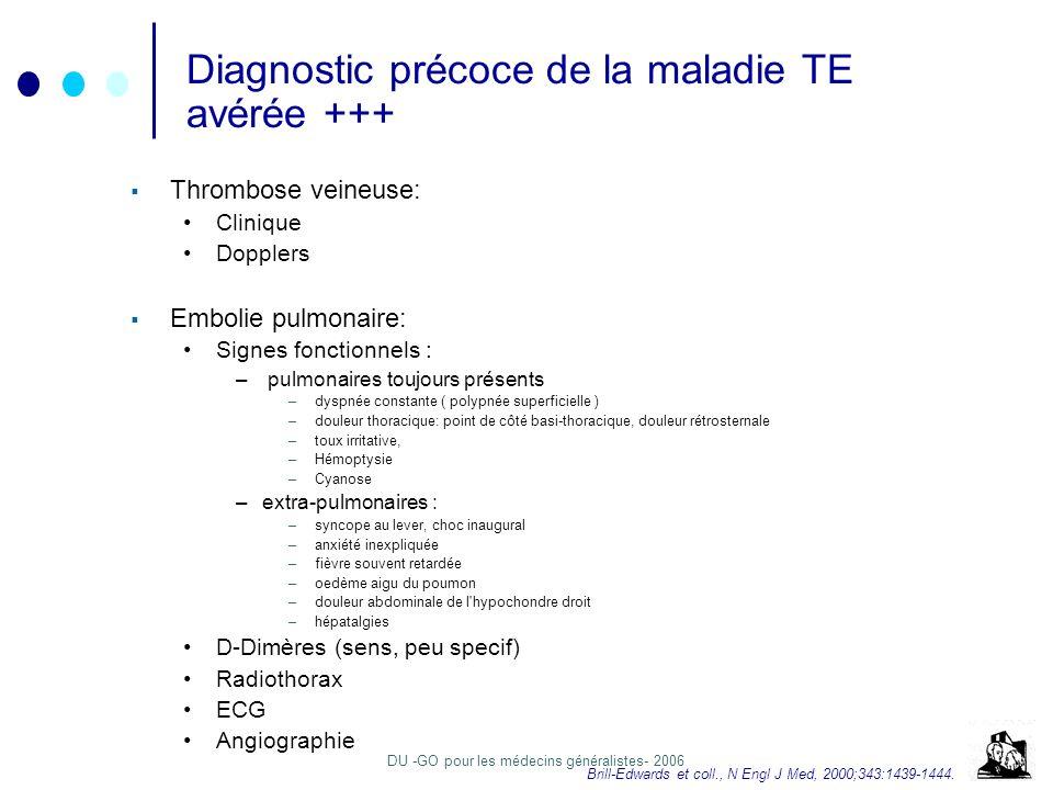 Diagnostic précoce de la maladie TE avérée +++