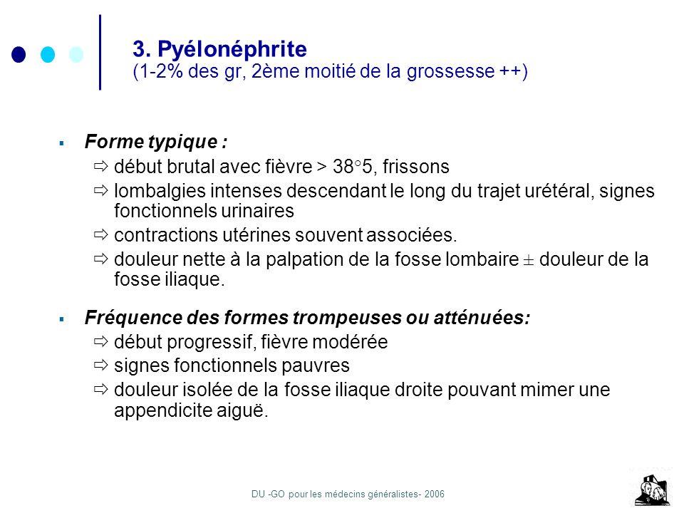 3. Pyélonéphrite (1-2% des gr, 2ème moitié de la grossesse ++)