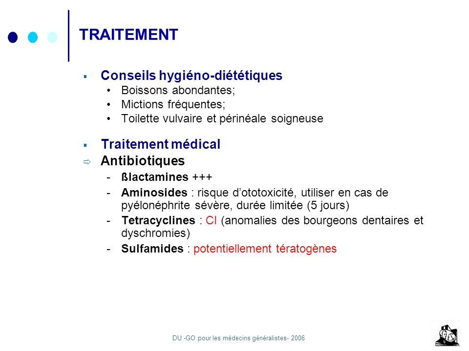 TRAITEMENT Conseils hygiéno-diététiques Traitement médical