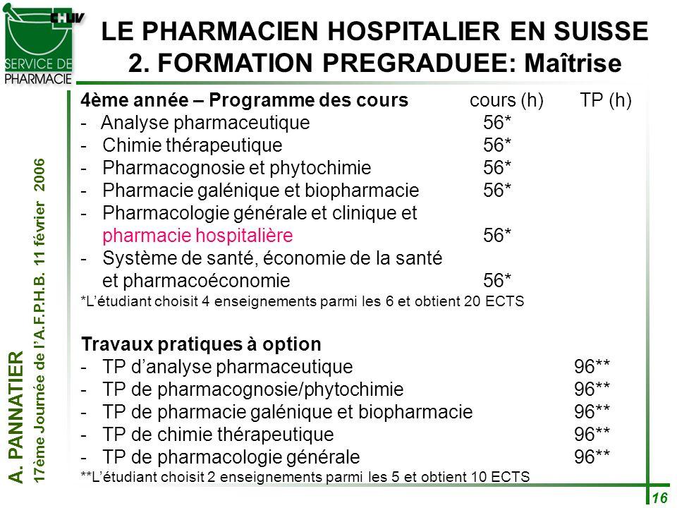 LE PHARMACIEN HOSPITALIER EN SUISSE 2. FORMATION PREGRADUEE: Maîtrise