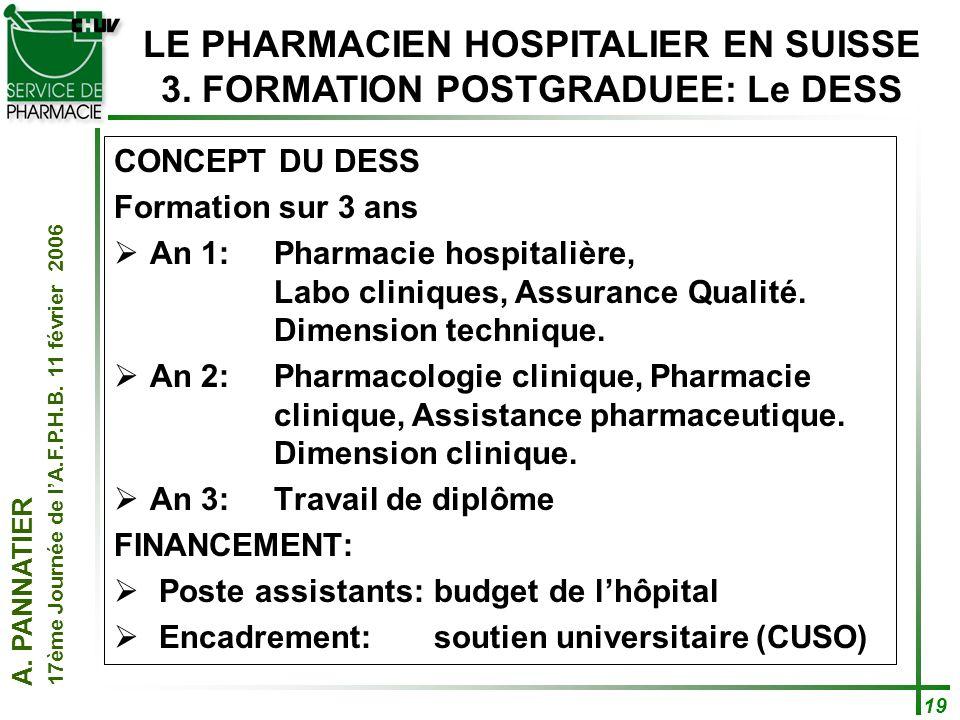LE PHARMACIEN HOSPITALIER EN SUISSE 3. FORMATION POSTGRADUEE: Le DESS
