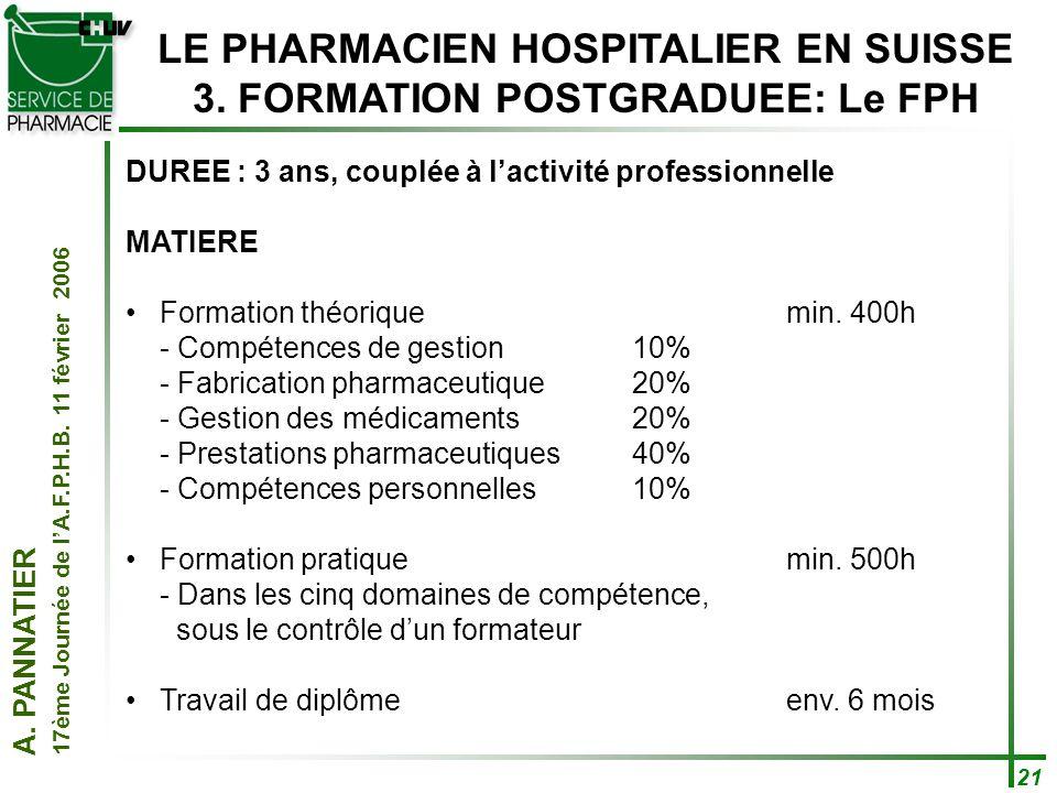 LE PHARMACIEN HOSPITALIER EN SUISSE 3. FORMATION POSTGRADUEE: Le FPH