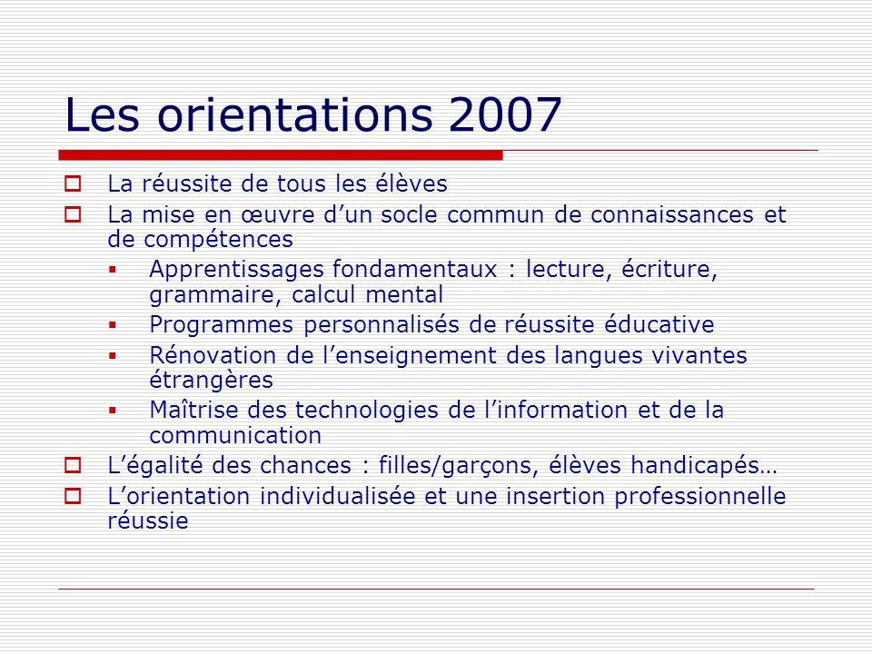 Les orientations 2007 La réussite de tous les élèves