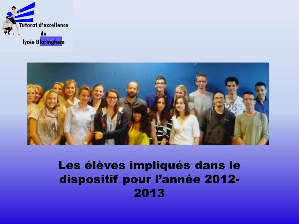 Les élèves impliqués dans le dispositif pour l'année 2012-2013