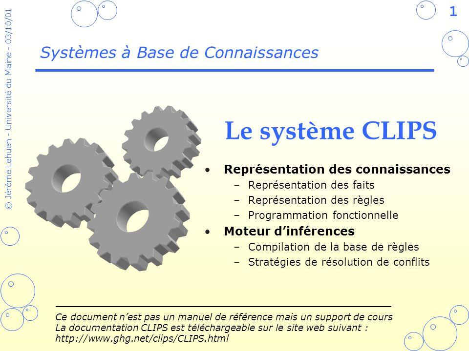 Le système CLIPS Systèmes à Base de Connaissances