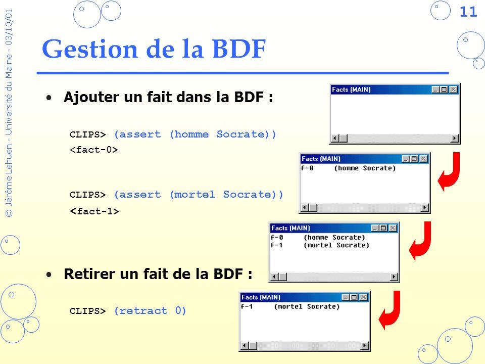 Gestion de la BDF Ajouter un fait dans la BDF :