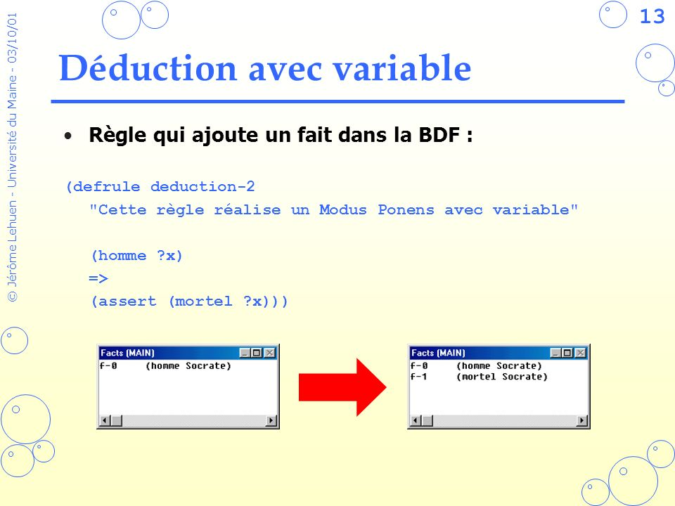 Déduction avec variable