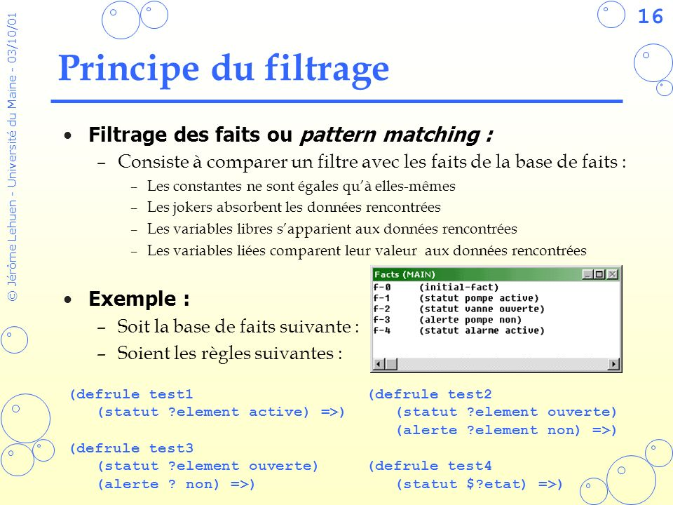 Principe du filtrage Filtrage des faits ou pattern matching :