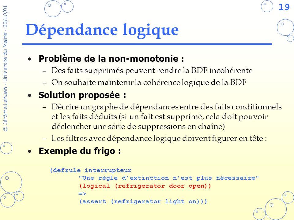 Dépendance logique Problème de la non-monotonie : Solution proposée :