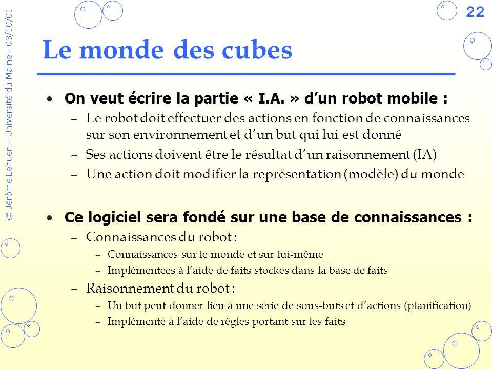 Le monde des cubes On veut écrire la partie « I.A. » d'un robot mobile :