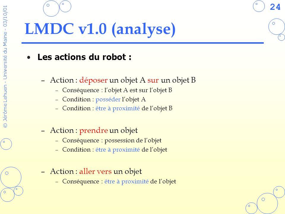 LMDC v1.0 (analyse) Les actions du robot :