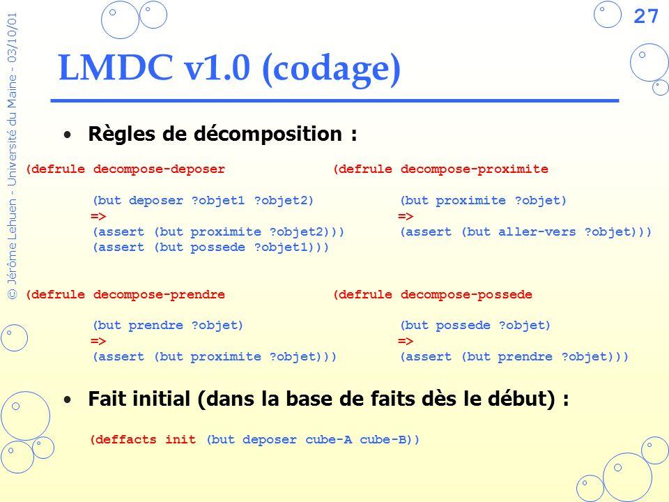 LMDC v1.0 (codage) Règles de décomposition :