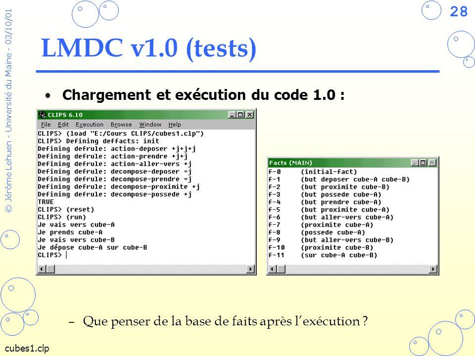 LMDC v1.0 (tests) Chargement et exécution du code 1.0 :
