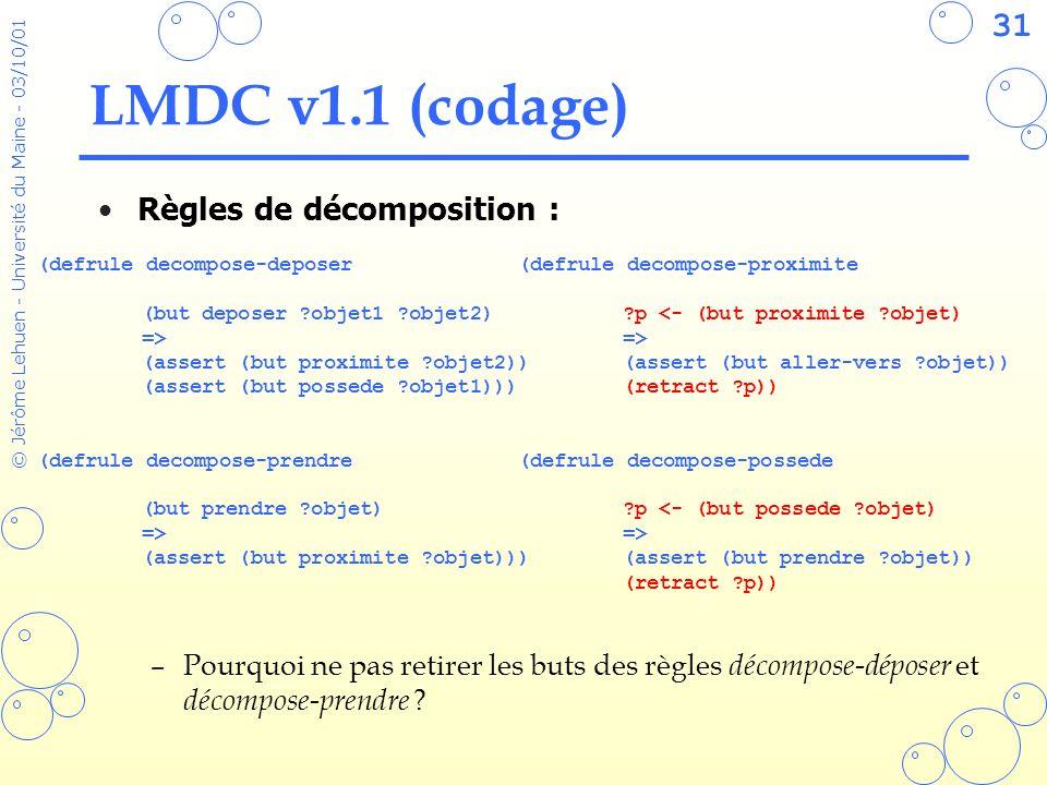 LMDC v1.1 (codage) Règles de décomposition :