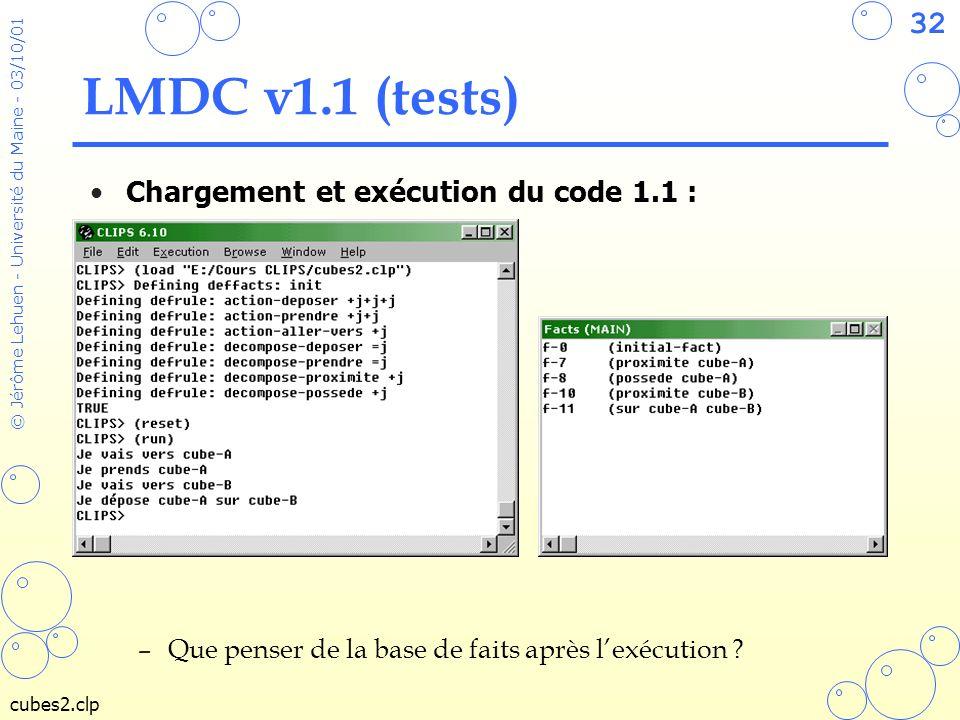 LMDC v1.1 (tests) Chargement et exécution du code 1.1 :