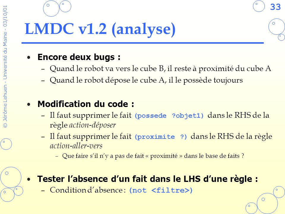 LMDC v1.2 (analyse) Encore deux bugs : Modification du code :