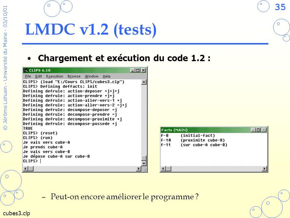 LMDC v1.2 (tests) Chargement et exécution du code 1.2 :
