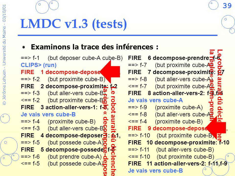 LMDC v1.3 (tests) Examinons la trace des inférences :