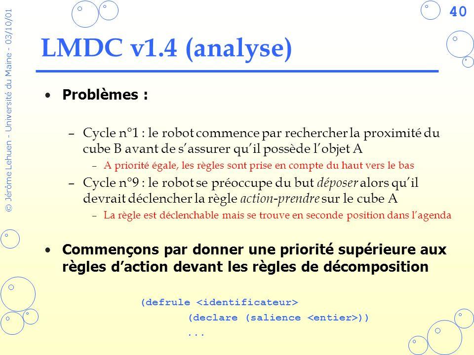LMDC v1.4 (analyse) Problèmes :
