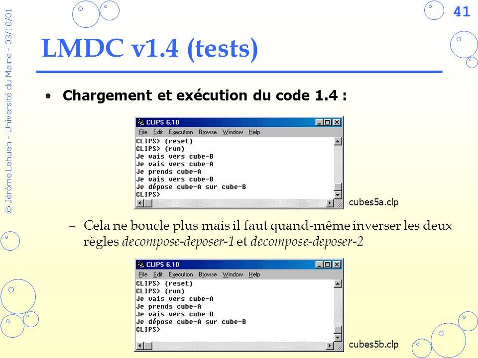 LMDC v1.4 (tests) Chargement et exécution du code 1.4 :