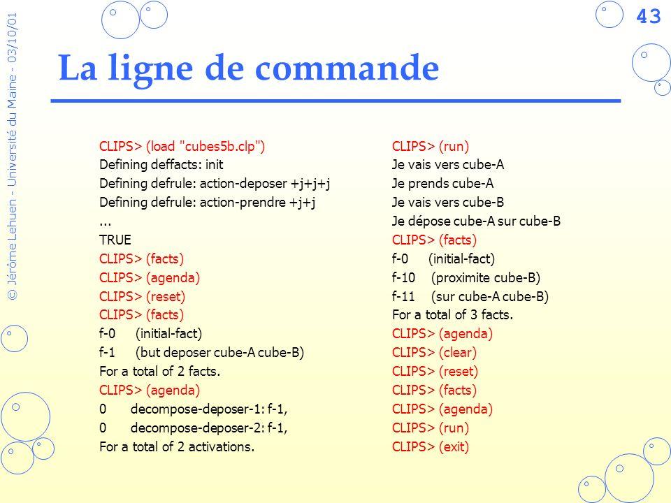 La ligne de commande CLIPS> (load cubes5b.clp )