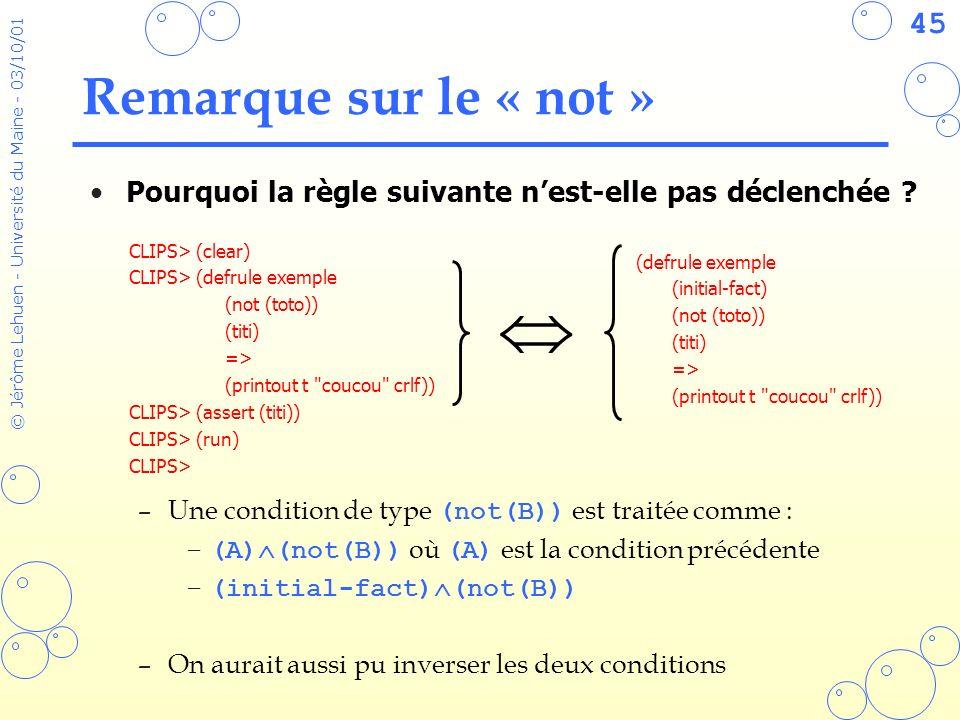 Remarque sur le « not » Pourquoi la règle suivante n'est-elle pas déclenchée Une condition de type (not(B)) est traitée comme :