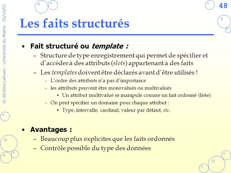Les faits structurés Fait structuré ou template : Avantages :