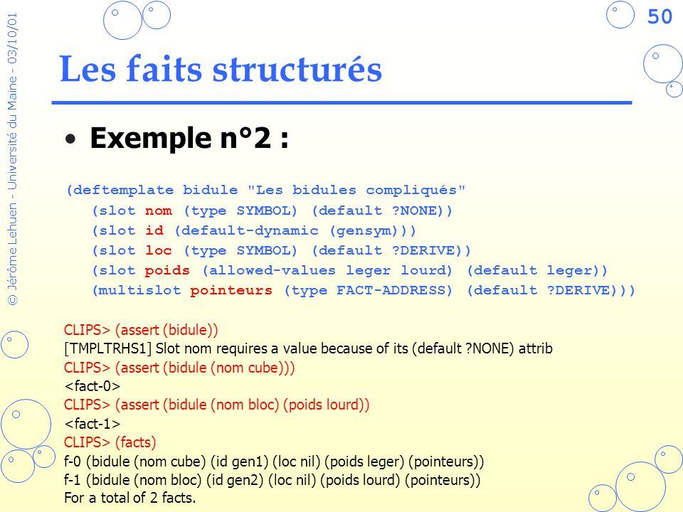 Les faits structurés Exemple n°2 :